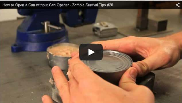 How To Open A Can Without Tools. A simple no mess way to open a can with no tools, no can opener, no knives ... nothing. A great survival tip.
