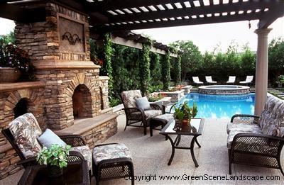 www.greenscenelandscape.com Fireplace + pool = I'll take one of those please
