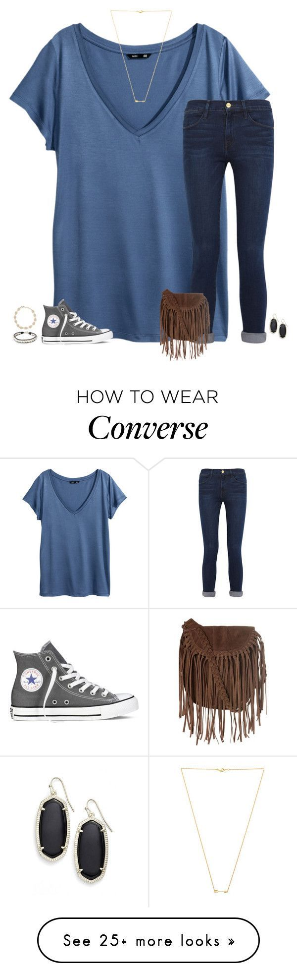 friend set for Eva S.-carol by secfashion13 on Polyvore featuring HM, Frame Denim, Wanderlust   Co, Converse, Kendra Scott, Glamorous and NOVICA