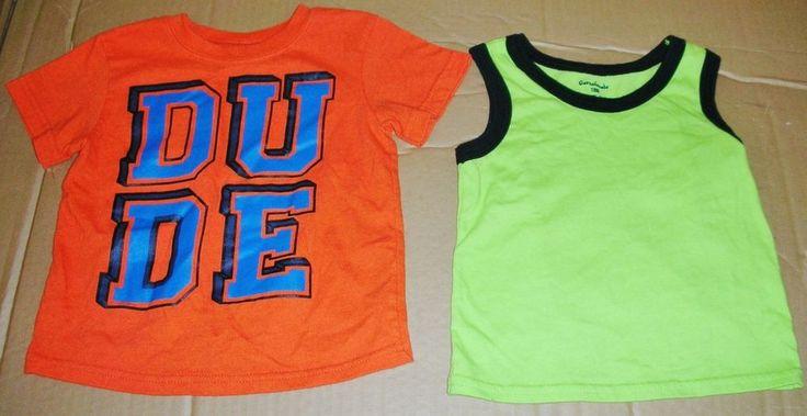 Garanimals 18m Orange Lime Green Shirts DUDE Boy Toddler Baby Lot Pre-Owned  #Garanimals #Everyday