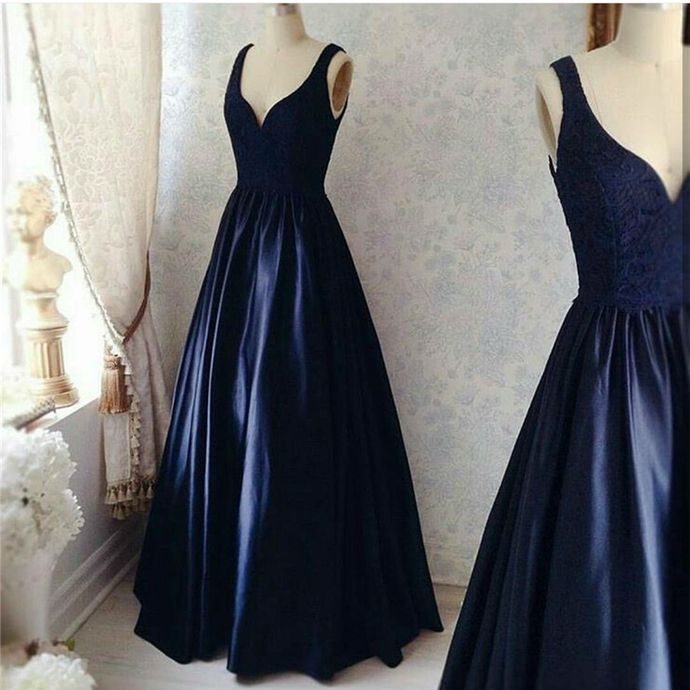 Double Straps Evening Dresses, Navy Blue Formal Evening Dresses, Elegant Floor length Evening Dress by comigodress, $158.29 USD
