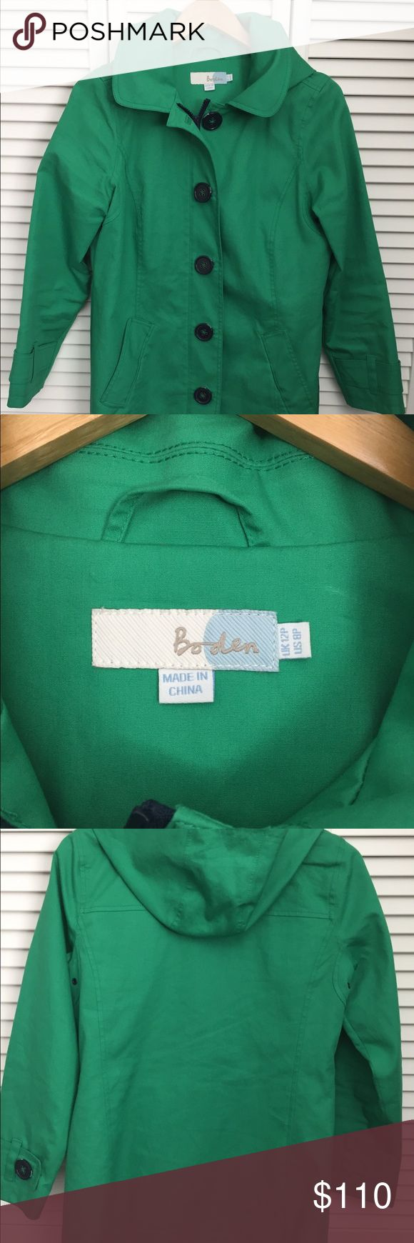 """Boden rainyday Mac raincoat Boden women's Cotten raincoat with hood in emerald green. Cute navy polkadot lining. Size 8p. Only worn a few times, great condition. Approx 35"""" collar to hem. No trades. Thanks for looking! Boden Jackets & Coats"""