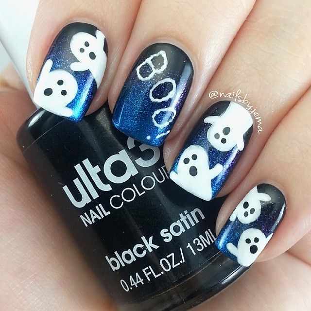 best 16 simple ghost nail designs for halloween top new easy home manicure bored fast food