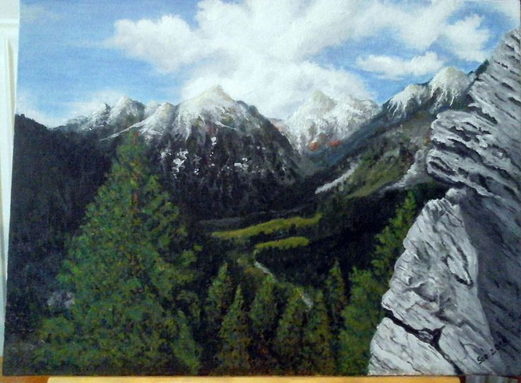 Created by: Kovácsné Sz. Éva - Switzerland - on the way to St. Moritz,  acrylic,30x40 cm canvas. Original photography: Kovácsné
