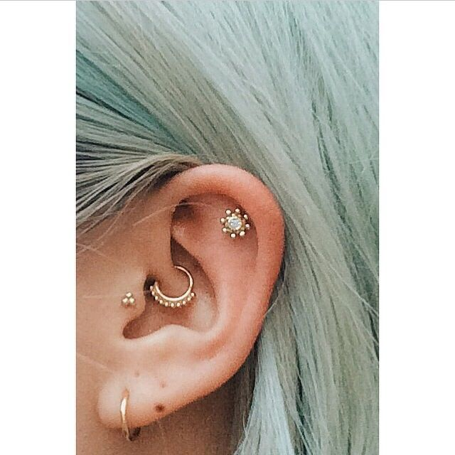 Daith, tragus, cartilage and lobe piercings