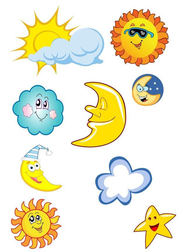 sun, cloud and moon drawings