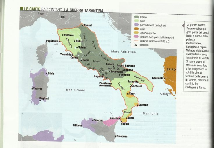 L'Italia dopo le guerre sannitiche e la sconfitta di Taranto