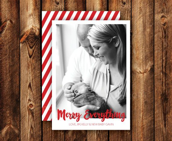 Merry Everything Newborn Announcement Holiday Card New Baby Christmas Card Xmas Card Hanukkah Card Photo Card Any Size DIGITAL or PRINTED