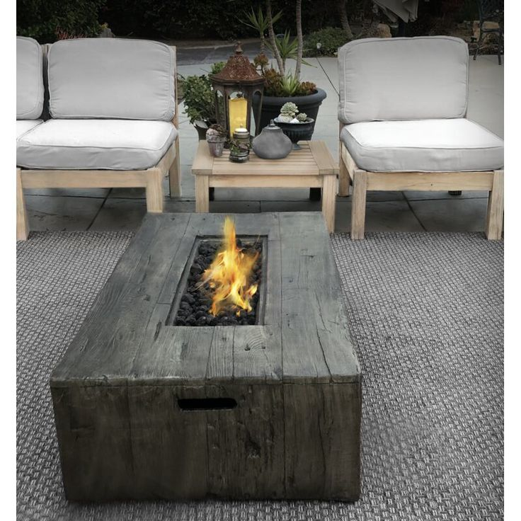 Mobley Concrete Propane Gas Fire Pit Table Outside fire