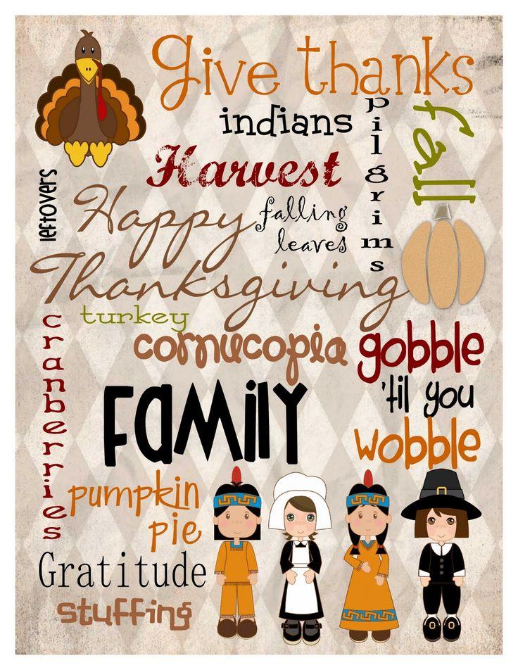Mule 'n Nag Crafts: FREEBIE: Thanksgiving Subway Art