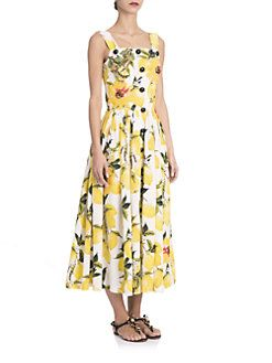 Dolce & Gabbana - Embellished Lemon-Print Midi Dress
