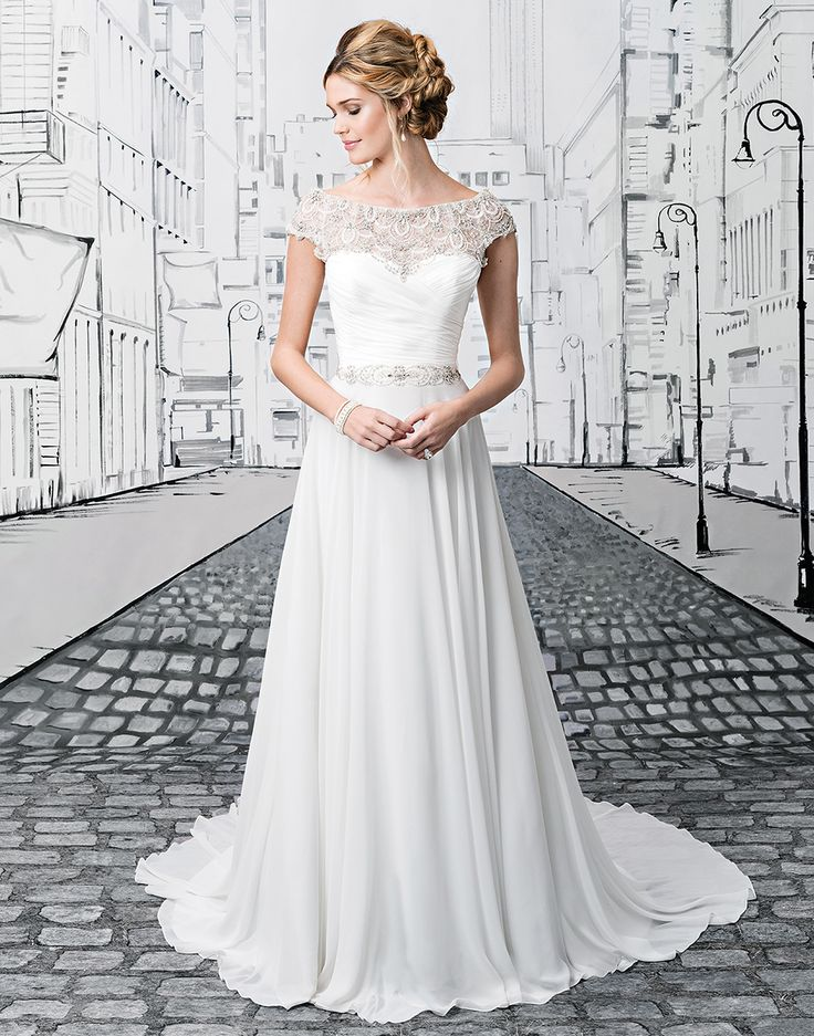 Justin Alexander wedding dresses style 8799 Beaded embroidery and chiffon ball gown with a portrait neckline