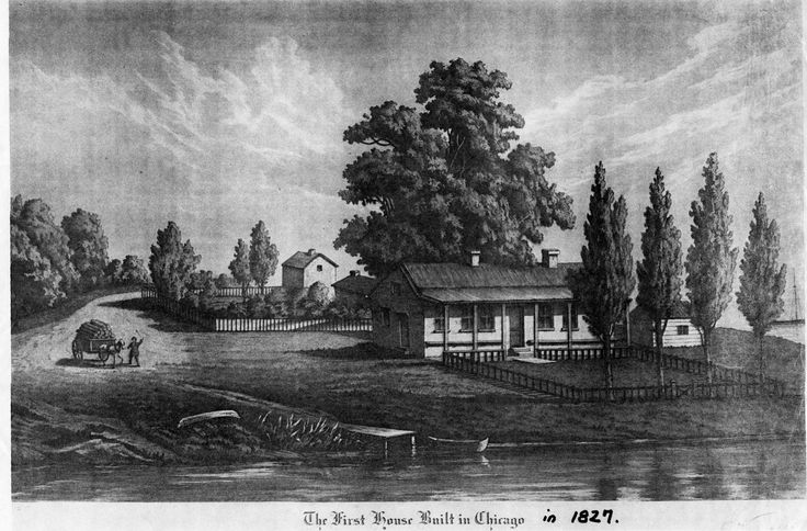 The first house built in Chicago in 1827 Residence of John Kinzie 1804-1828  #RealEstate #Realtor #Chicago #ChiTown #SecondCity #TheWindyCity #WindyCity #History