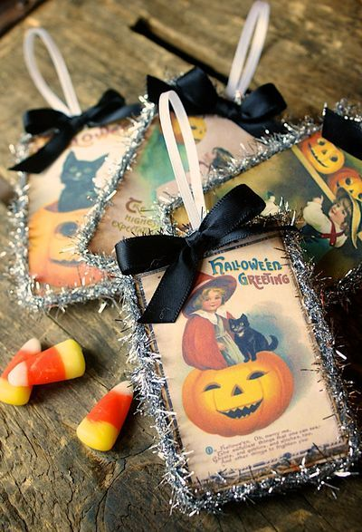 Halloween tag craft from vintage card images, so cute! I collect those vintage Halloween (and Thanksgiving...and Easter...) postcards.