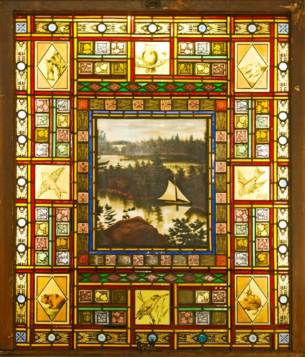 """One of the """"Wiser Windows"""" by Canadian glass artist Harry Horwood, commissioned by the whisky magnate J.P. Wiser. Circa 1880s."""