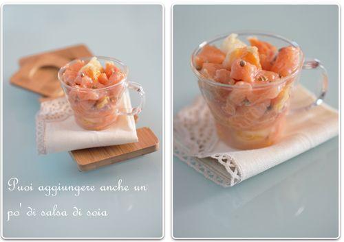 Gikitchen: Una tartare di salmone con pompelmo, arancia e senape in grani