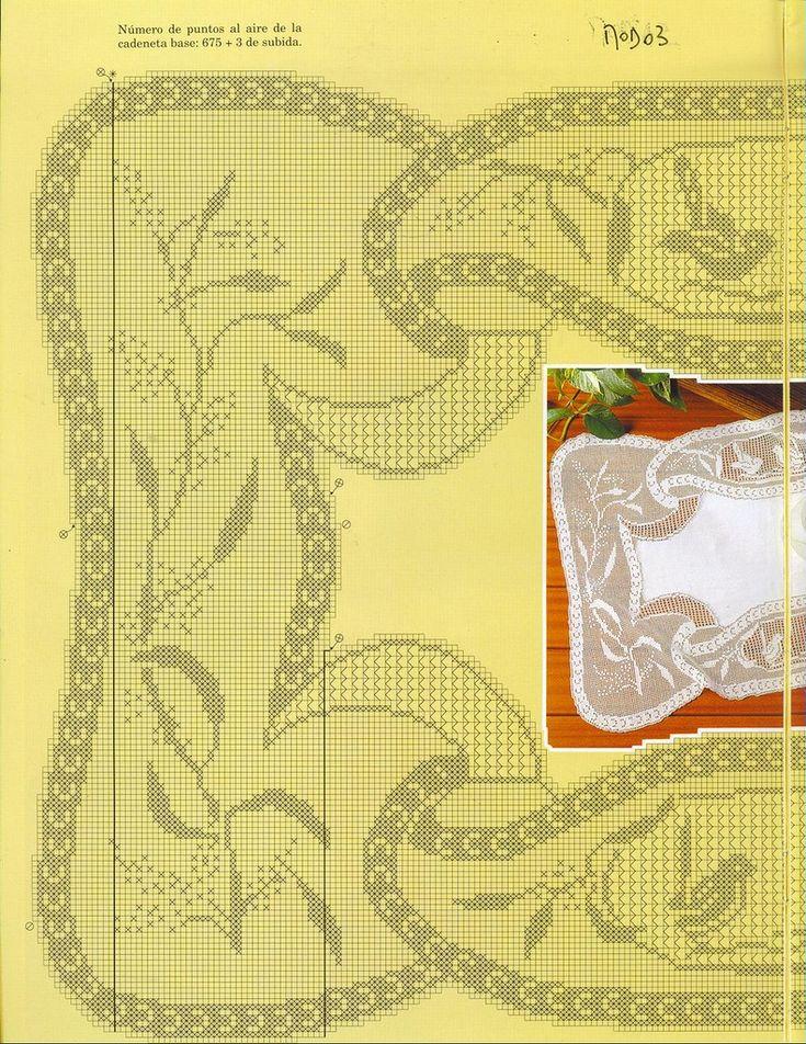 """Mary Card """"Blue Wren and Wattle"""" Filet Crochet Chart(Part 1/3)"""