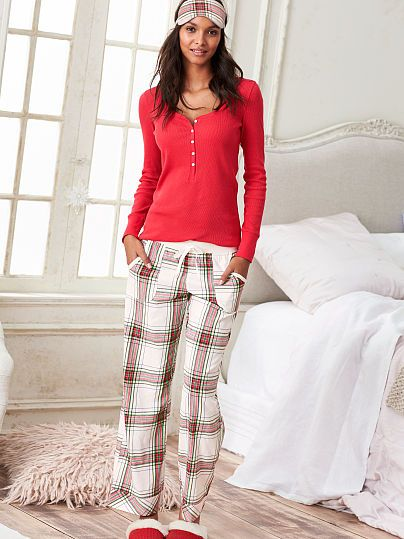 The Dreamer Henley Pajama from VS Size: Short, XS or small Patterns: Light grey/pink stripes or red and plaid :)