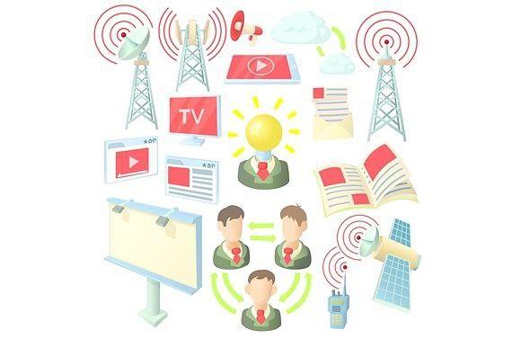 Internet icons set, cartoon ctyle. Envelope #internet #communication