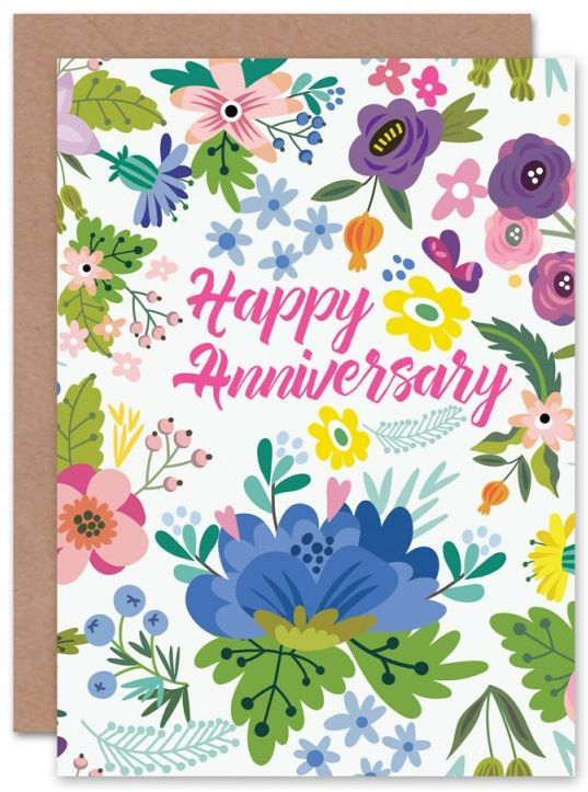 Floral Theme Anniversary Card Love Flowers Wildflowers Marriage Wedding