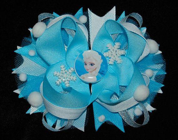 Moño para niñas de frozen disney, elsa  gancho azul