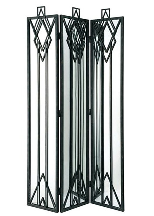French Art deco: Black wrought iron room divider.
