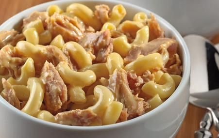 Tuna Mac & Cheese. I don't use veggies and use only one can of tuna. One of my favorite comfort foods!