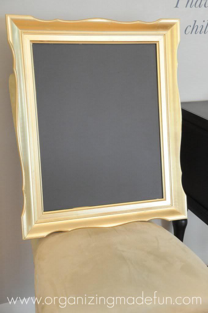 Chalkboard picture frame- behind door.