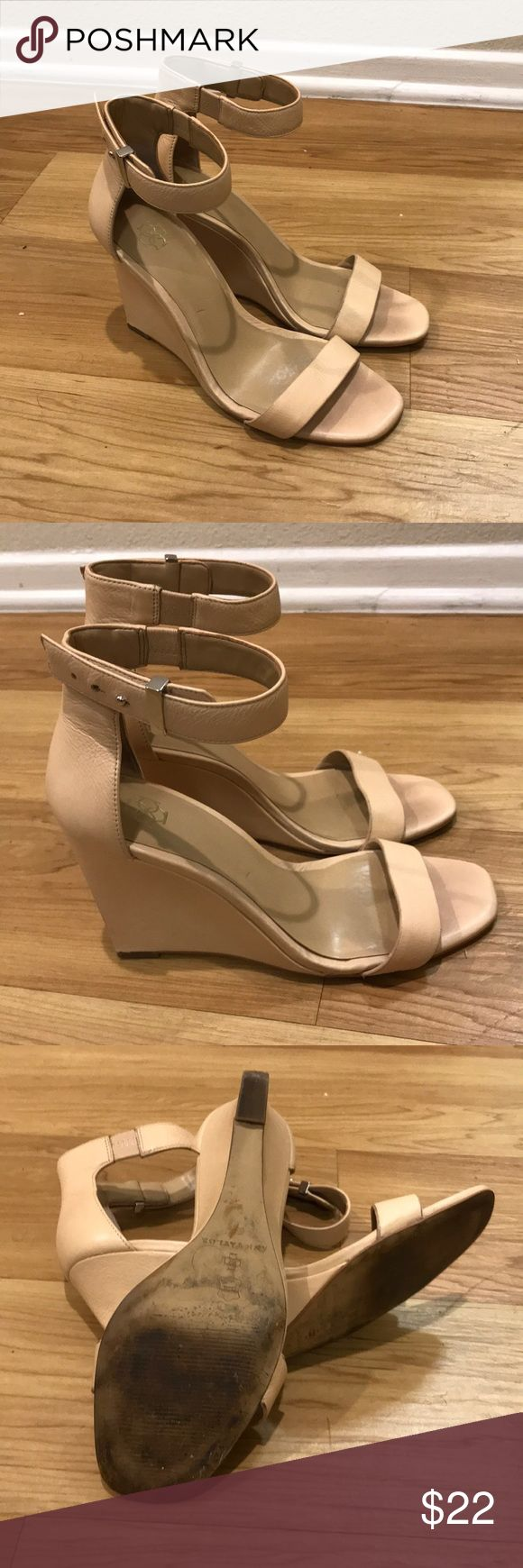 "Light tan wedge sandal by Ann Taylor Beige leather wedge sandals size 6.5 with a 4"" heel. Can be dressed up or down. Ann Taylor Shoes Wedges"