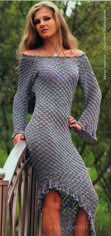 Оригинальное платье крючком