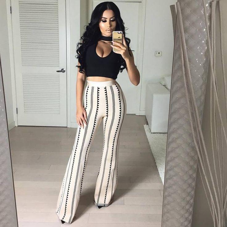 Black sleeveless top and pants 2017 sexy newest fashion 2 piece bodycon rayon bandage suit – Mygrandadisgood