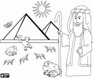 Coloriage Moïse et les plaies d'Égypte