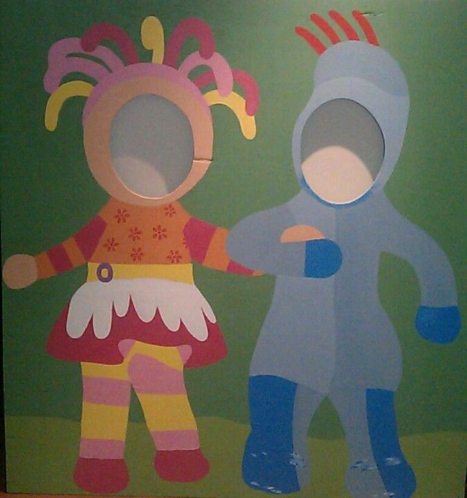 "My upsy daisy and iggle piggle photo prop for my little girls 2nd birthday.  My wonderful Dad helped to cut out the faces and free handed the characters as well as painting iggle piggle.   I've spent the last few nights painting upsy daisy and the background (cause we did that the wrong way around).   I think it looks great and I'm very proud of our creation. My 3 year old son tells me ""good job mummy, that's so cool!"" I can't wait to see it in action at the party!"