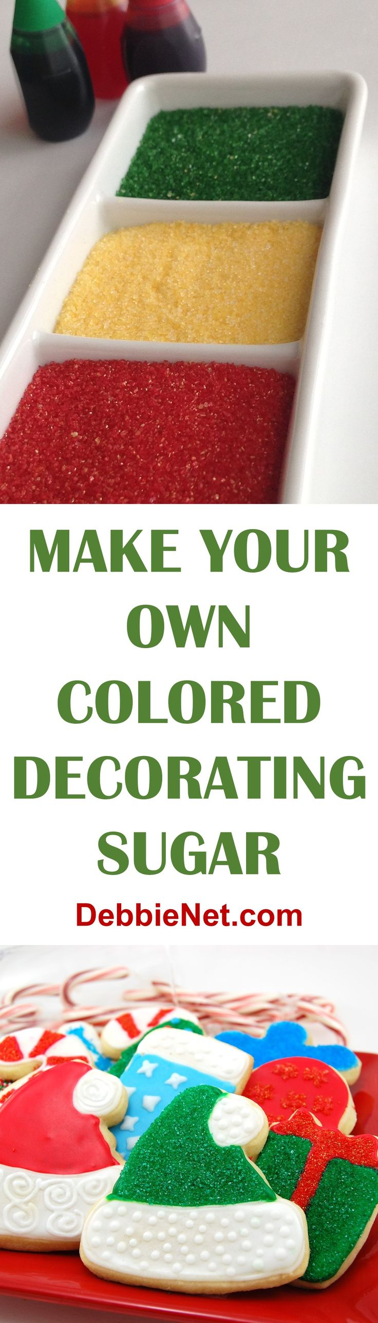 Create your own custom colors for only pennies. Skip the store bought decorating sugar and make your own. | DebbieNet.com