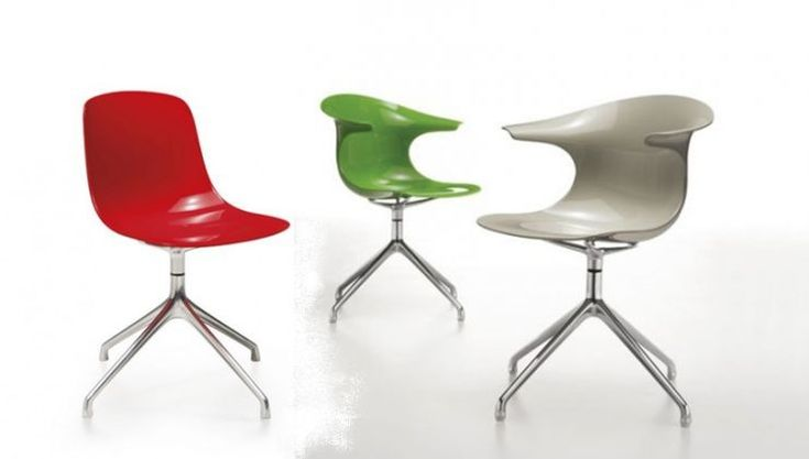 Loop chairs with and without armrests, on a swivel foot