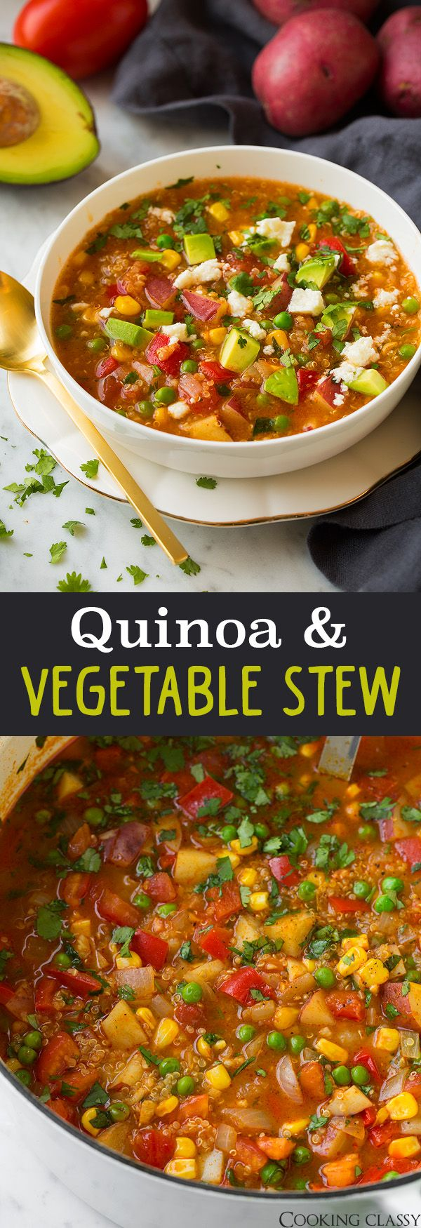 Quinoa and Vegetable Stew - Latin inspired soup that's packed with veggies! So good and even better the next day!