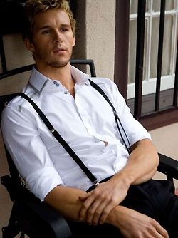 Ryan Kwanten --- I don't like the collar but a crisp white shirt and suspenders are a great look!