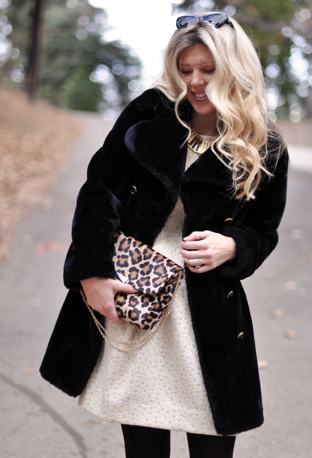 Cynthia Steffe Dress, Vintage coat, Lauren Merkin leopard print bag, Kara Ross necklace. THE HAIR