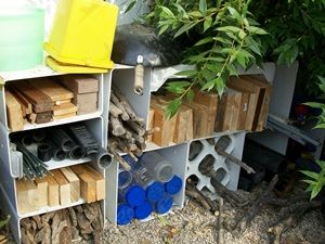 """Ways to organize loose parts outside.  from Jenny Kable's superb blog """"let the children play."""""""