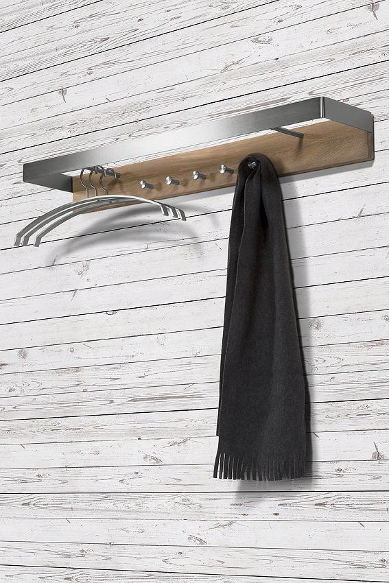 Wandkapstok Noa 2 - RVS-Eiken - Spinder Design