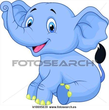 Clip Art - lindo, elefante bebé, caricatura, sentado k18695639 ...