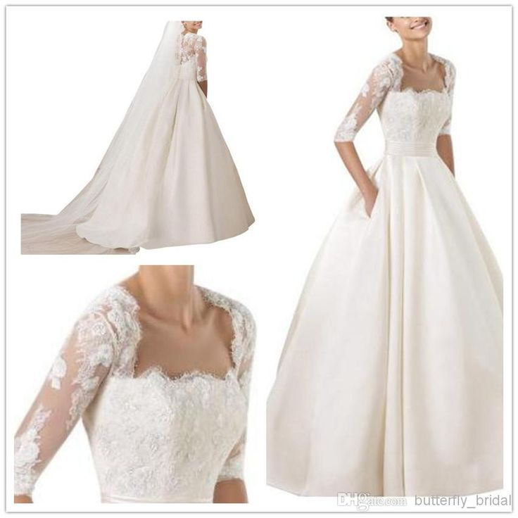 2014 A Line Square-Neck Greek Satin Wedding Dress w/ Half Sleeve and Sweep Train; Eyelash Lace and Pockets
