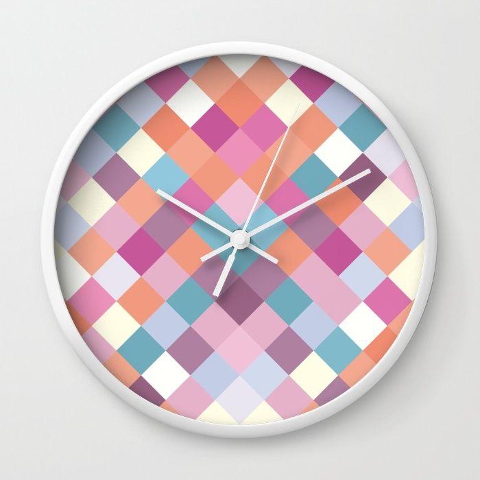 EXE Wall Clock  #society6 #design #home #wallclock #clock #print #pattern #triangle #decor #colorful #white #nordic #scandinavian