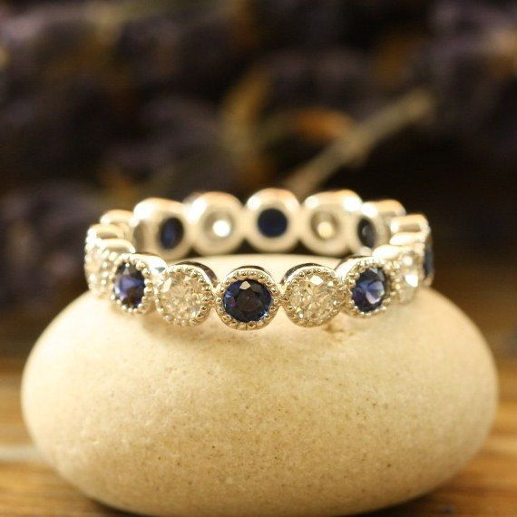Natural Sapphire and Diamond Eternity Band 14k White Gold Vintage Inspired Sapphire Wedding Ring Band (Other Metals & Stones Available)