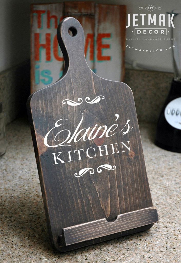 Personalized Cutting Board iPad Stand, Tablet Stand, Wooden Kindle Stand…