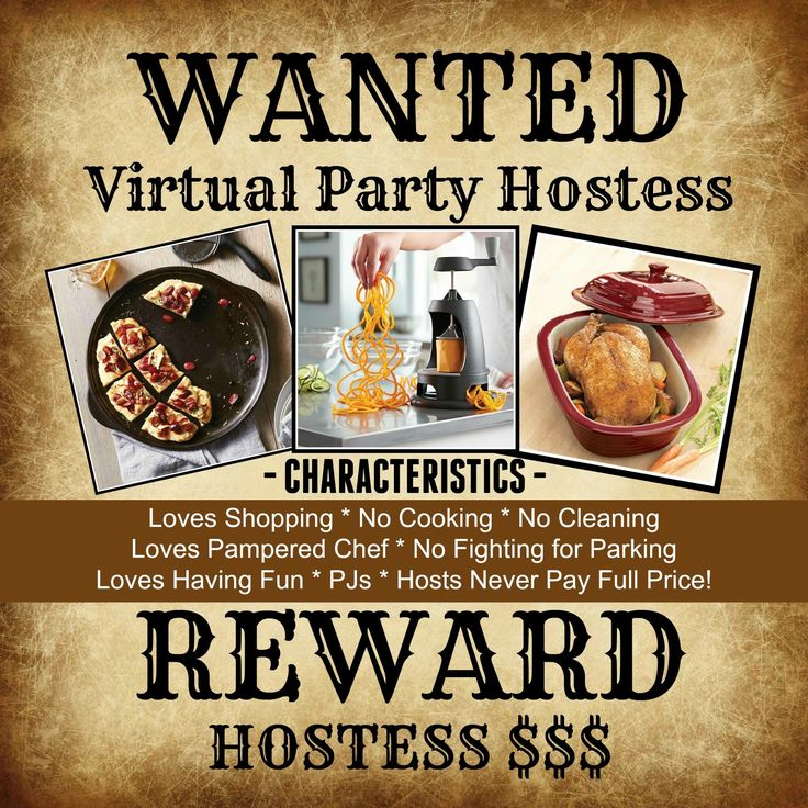 Looking for Pampered Chef Virtual Party Hosts! Click picture to sign up!