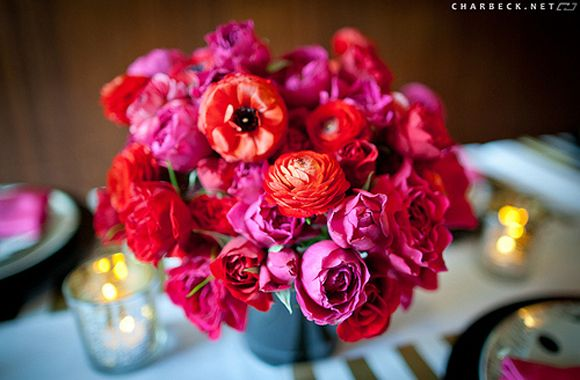 beautiful bright colorsInspiration, Red Flower, Birthday Parties, Pink, Gardens Rose, Bright Bouquets, Kate Spade, Katespade, Bright Colors