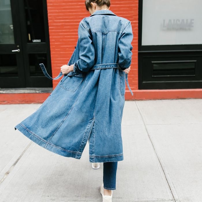 denim every day 14 of 24 / undeniably cool. today, meet the rivet & thread denim duster, made from premium small-batch denim. our design team's favorite layer for fall #denimmadewell #denimeveryday