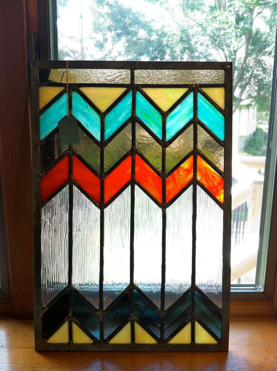 Modern Chevron Stained Glass Art by DoodlinDesigns on Etsy, $120.00