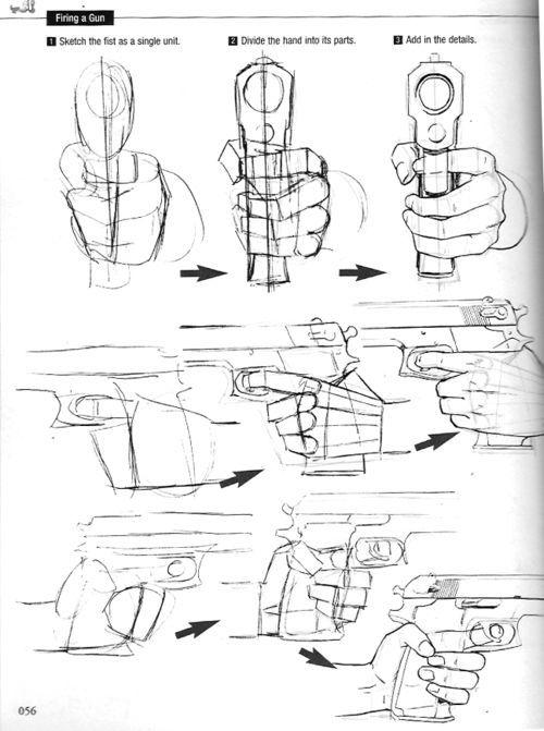 dibujar manos agarrando un arma